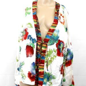 Chico's sz 2 tie front jacket blazer floral print